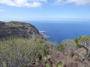 The view to Los Gigantes harbour, from our lunch spot